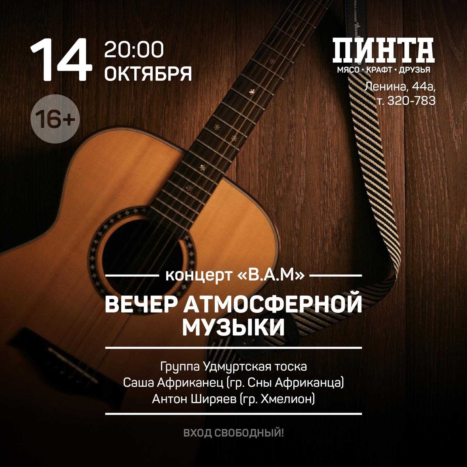 Афиша Ижевска — Вечер атмосферной музыки в «Пинте» на Ленина